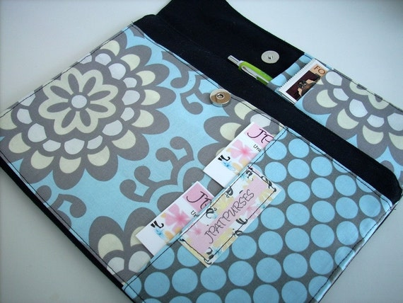 NEW ITEM and DESIGN---Document\/Notebook Click-It Wallet in Black Canvas with Amy Butler Wall Flower Dots