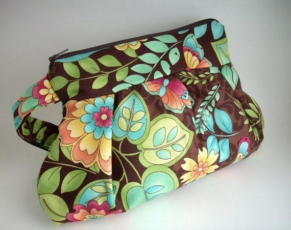 NEW ITEM--Large Pleated Wristlet Pouch---Sweet Forest