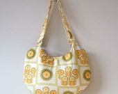 Lemon and lime vintage fabric half moon purse