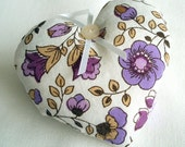 vintage fabric hearts in violet and plum