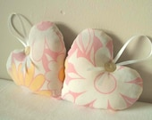 vintage fabric hearts in lemon and cotton candy pink