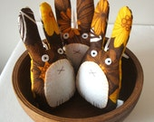 Handmade bunny plush home decoration in buttercup and chestnut vintage fabric HALF PRICE