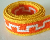 "vintage woven fabric trim in pumpkin and lemon 1 3/8"" wide 2 yards sale"