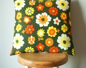 vintage fabric cushion cover in jade and scarlet