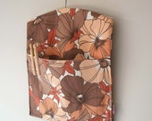 Chestnut brown vintage fabric laundry clothespin peg bag HALF PRICE