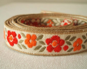 Vintage woven fabric ditsy floral trim in crimson and orange three yards SALE