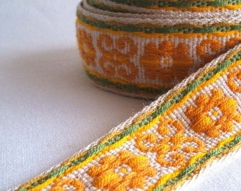 "vintage woven fabric trim in mustard yellow and sage green 1 3/8"" wide one yard sale"