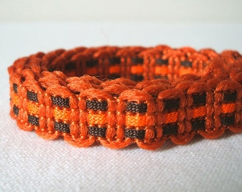 vintage woven fabric trim in terracotta orange and chocolate brown 3 yards sale