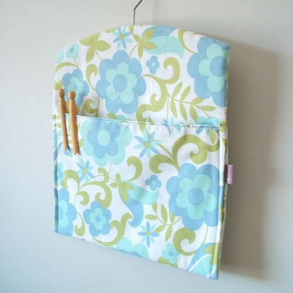 SALE Blue daisy eco friendly clothespin bag