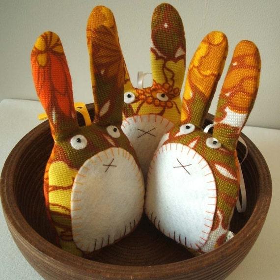 Eco friendly vintage fabric rabbit plush decoration handmade in zesty orange HALF PRICE