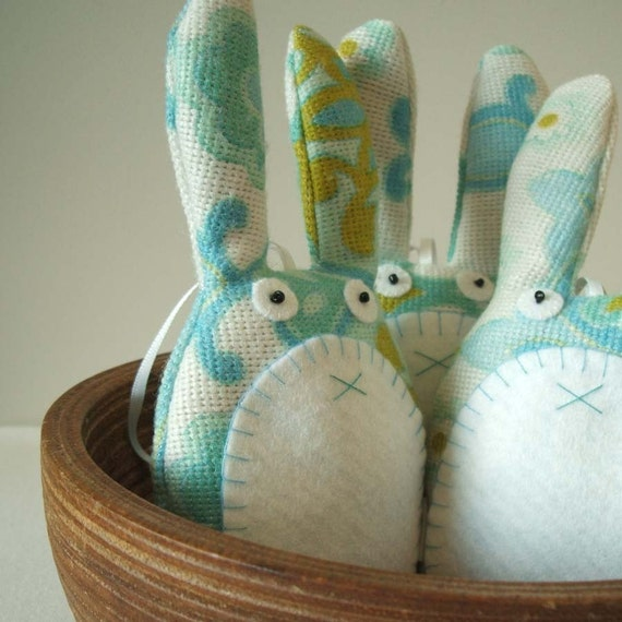 Handmade vintage fabric rabbit lavender sachet in turquoise and aqua blue