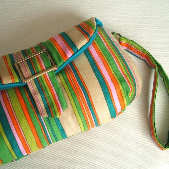 SALE Rainbow stripes clutch wristlet