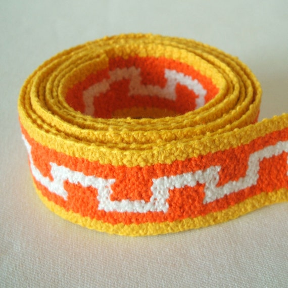 """vintage woven fabric trim in pumpkin and lemon 1 3/8"""" wide 2 yards sale"""