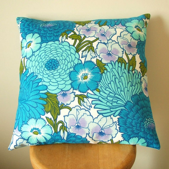 vintage fabric cushion cover in turquoise and midnight blue