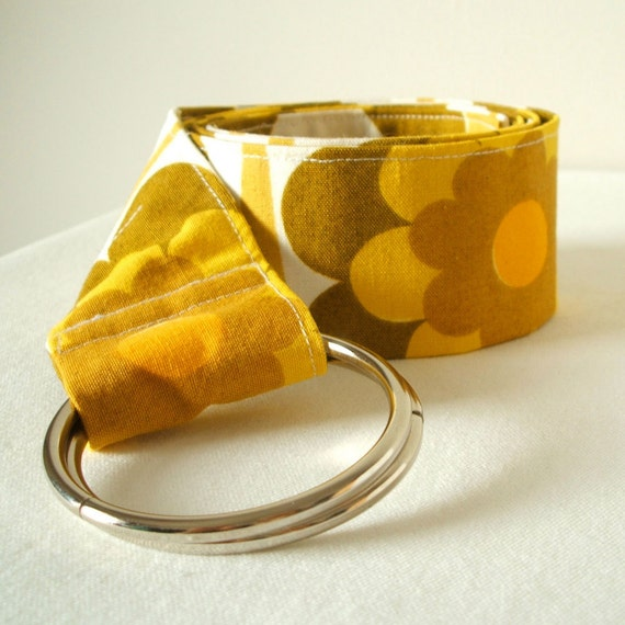 Handmade vintage floral fabric belt in mustard yellow and olive green SALE