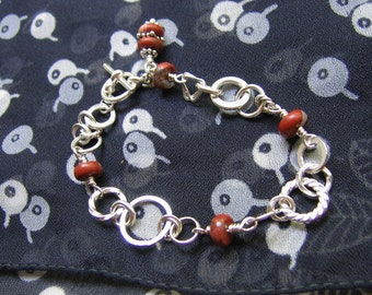 Mixed Link with Red Jasper Bracelet