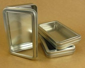 7 oz. Thin Rectangle Metal Window Tins - Set of 24 Containers / Great for Favors & Gift Packaging