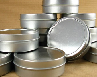 2 Oz. Silver Round Metal Tins - Set of 12 Containers / Ready to Decorate / Great for Packaging & Favors