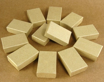 Mini Kraft Chipboard Jewelry  Gift Boxes - Set of 12  / 1-3/4 x 1-1/8 x 5/8 Inch / Perfect for Gift Wrapping, Packaging & Favors