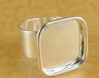 Bezel Large Square Ring Blank - Adjustable - Shiny Sterling Silver Plated Finish