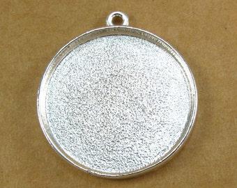 Large Circle Bezel Frame Tray Shiny Sterling Silver Finish for Pendants