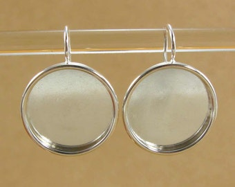 21mm Bezel Large Circle Earrings Blanks  - Shiny Silver Plated Finish