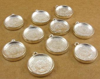 Mini Circle Single Loop Bezel Frame Trays - Set of Ten -  Shiny Sterling Silver Finish