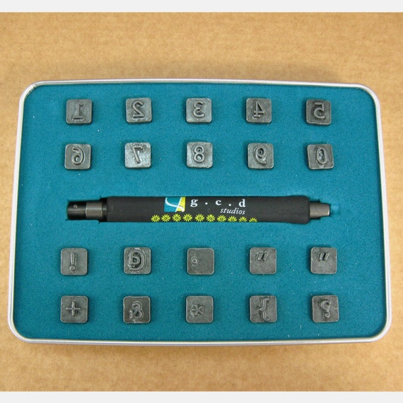 """1/4"""" Sparrow Numbers & Glyphs Stamps by Melody Ross / Set of 20 With Handle / Use On Chipboard and Leather"""