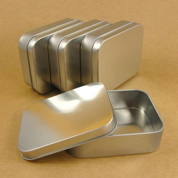 4 Oz Silver Metal Tin Boxes With Lids Set Of 4 Boxes