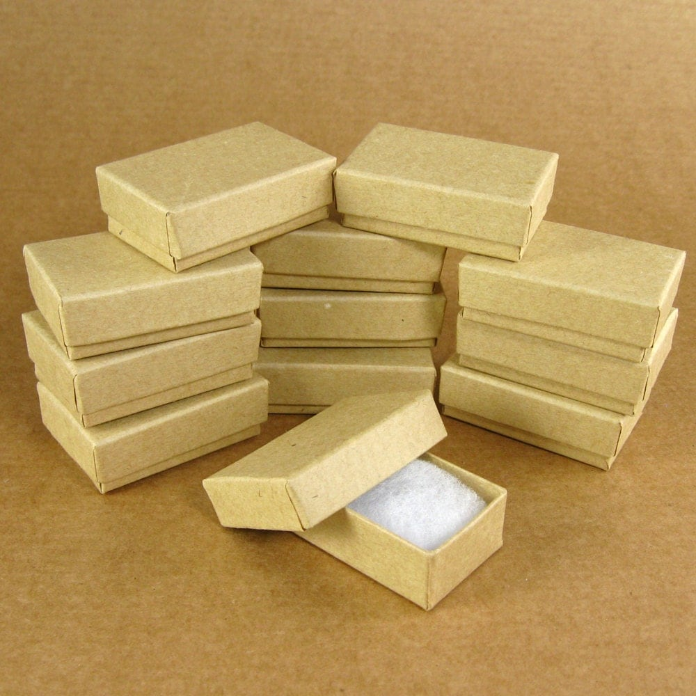 Chipboard Boxes For Crafting ~ Mini kraft chipboard jewelry gift boxes set of x