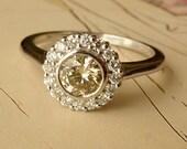 White Gold Bezel Set Diamond Halo Ring