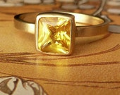 Radiant Cut Yellow Sapphire Ring