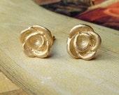 Rose Bud Studs - 14k Yellow Gold