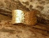 Wide Leaf Band - Adjustable, 14k Gold