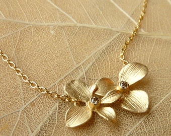 Double Orchid and Champagne Diamond Necklace