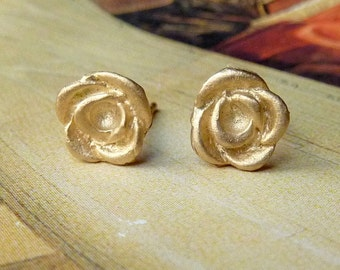 Rose Bud Studs - 14k Yellow Gold