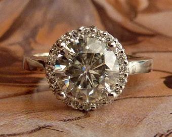 Round Moissanite and Diamond Halo Ring - 14k White Gold