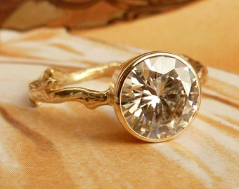 Moissanite Solitaire Branch Ring - 8mm