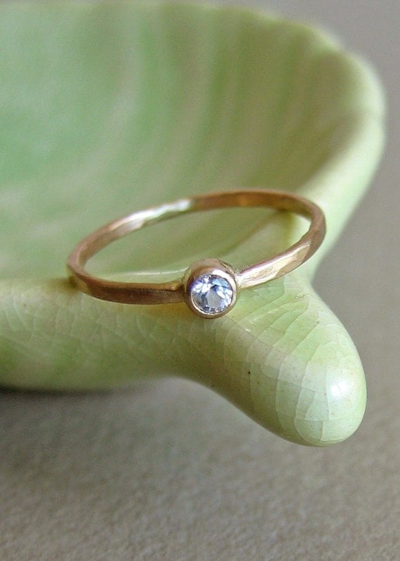 White Sapphire and 14k Gold Ring