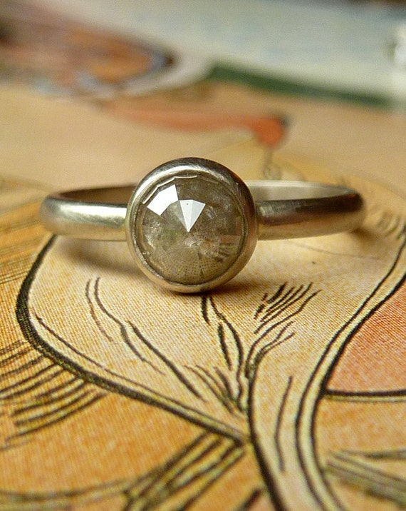 Grey Rose Cut Diamond Ring - Custom for mallorysalazar, Deposit