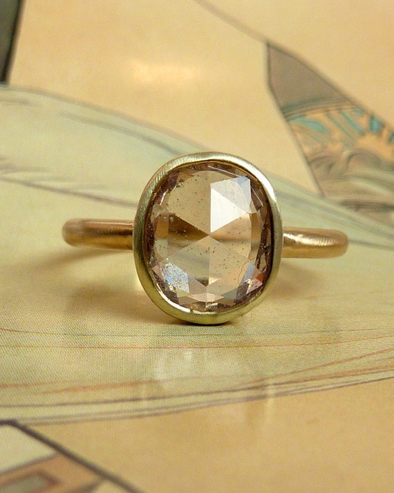 Khaki Green Oval Rose Cut Sapphire Ring deposit-custom for Jorgeevallee