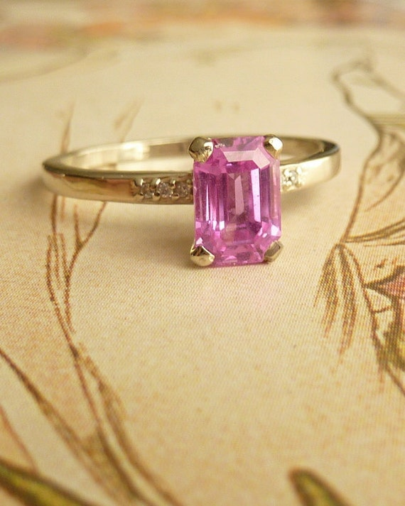 Emerald Cut Pink Sapphire and Diamond Ring