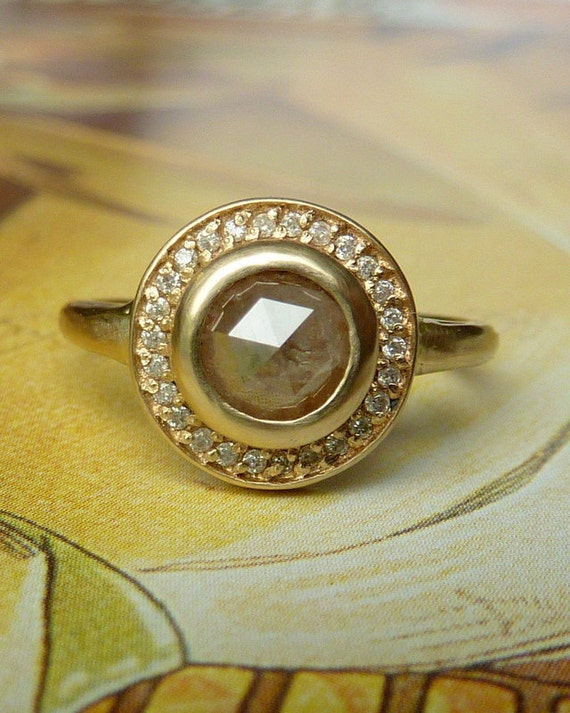 Rose Cut Diamond Halo Ring - RESERVED for gforshee