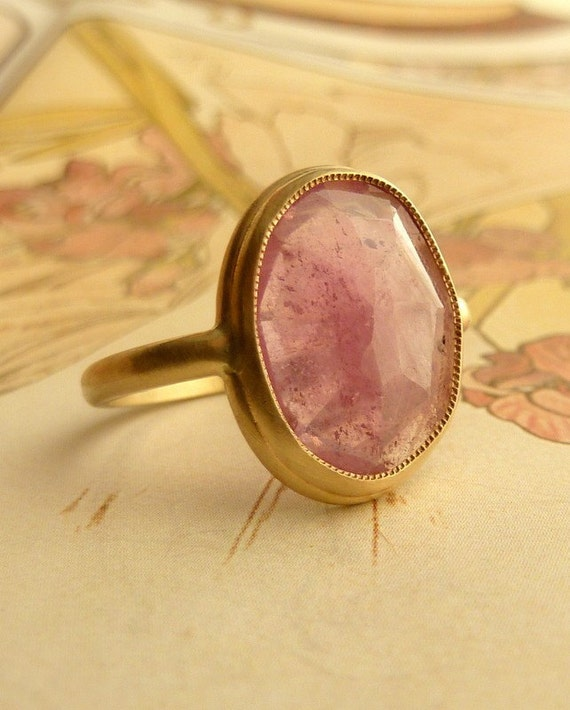 Pink Rose Cut Sapphire Ring - Large