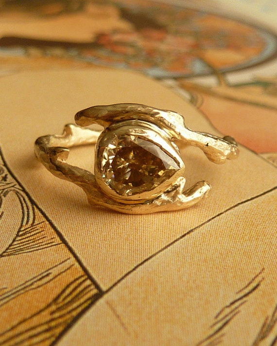 Branch Ring with Pear Cut Moissanite - Deposit for alisonkrager