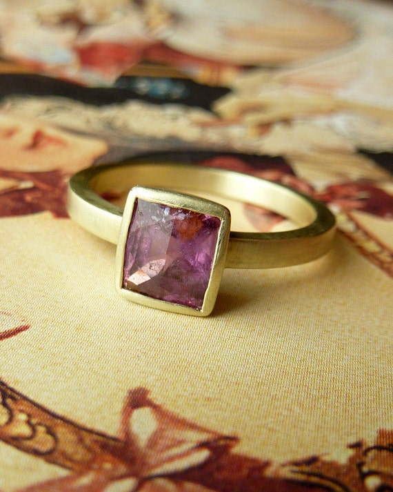 Deep Pink Rose Cut Sapphire Ring