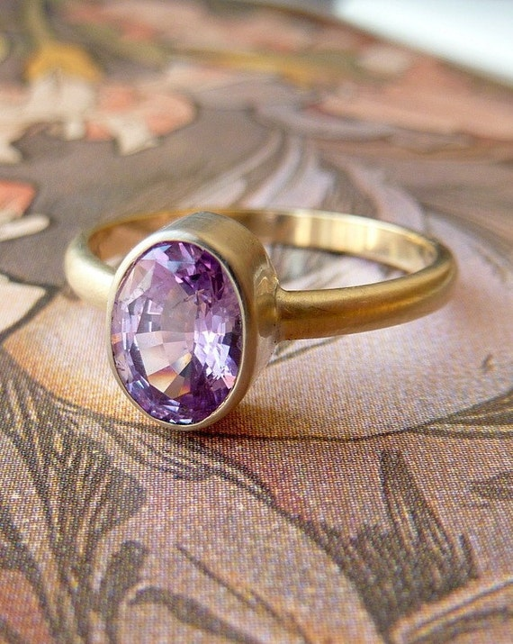 Pink Oval Cut Sapphire Ring