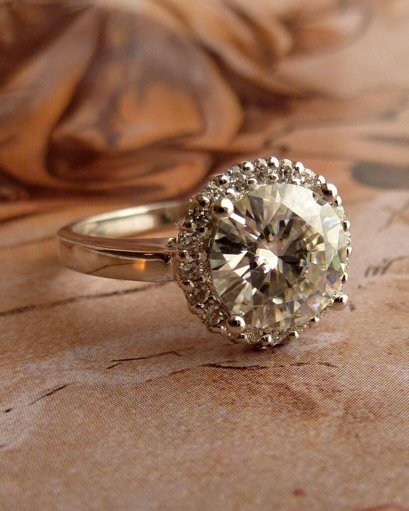 Round Moissanite And Diamond Halo Ring 14k White Gold