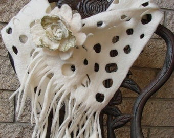 Natural Pure White Eco Friendly Felted Scarf and Free Flower Brooch