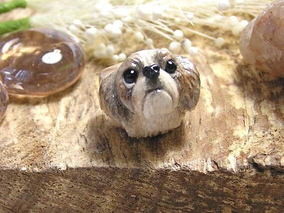 Shih Tzu Brown And Gray Polymer Clay Dog Pandora Bead By